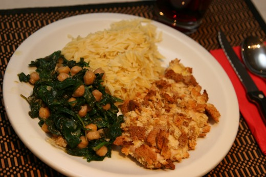 Lemon, chickpea & spinach along with our stuffing encrusted chicken & orzo