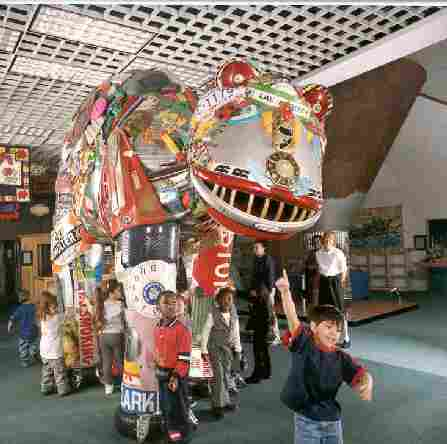 Trash-O-Saurus Exhibit at the Garbage Museum