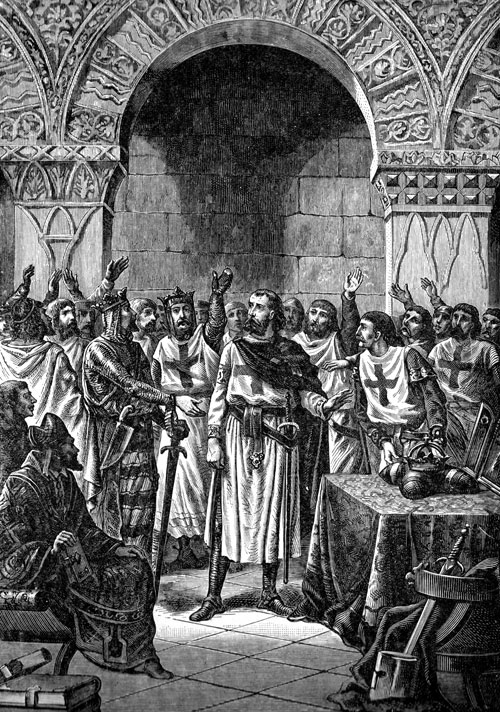 The Knights Templar were often referred to as religious soldiers as depicted in this sketch