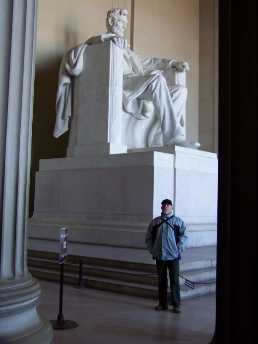 Reading the Gettysburg Address with the Statue of Abraham Lincoln in the background