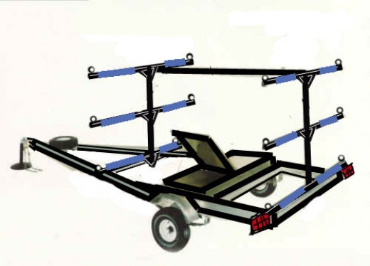 The T-Frame, also built on a boat chassis carries 6 to 8 boats depending on how tall you build it.
