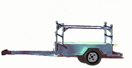 This is an H-frame. Built on a utility or stake trailer it can carry 2 to 4 boats depending on the width of the trailer.