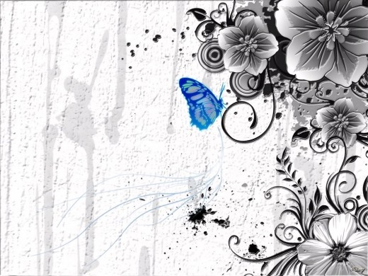 A classic black and white art piece with a sapphire butterfly.