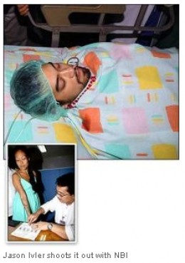 Ivler at the ICU. Below is his mom, Marlene captured by NBI and was detained due to obstruction of justice.