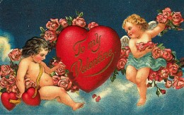 Victorian Valentine's Day card with cherubs, heart, and flowers