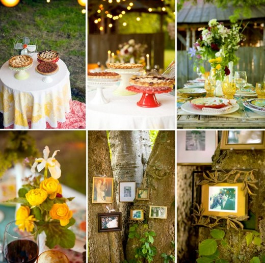 I love the quilt patchwork of color in this group of photographs.  What a great way to introduce sparkles of romance and color for the big day.  Another great feature to consider is serving up a variety of different freshed baked pies instead of cake