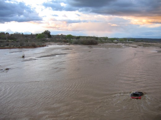 In 2004, a heavy rainfall filled the banks of the Hassayampa and the water carried several houses and a few cars with it in the torrent of flood waters.