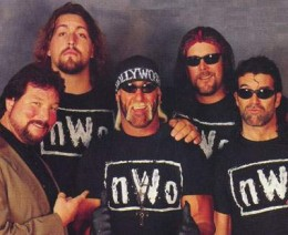 WCW's New World Order: clockwise from left: Ted DiBiase, Paul Wight (aka Big Show), Hulk Hogan (center), Kevin Nash and Scott Hall