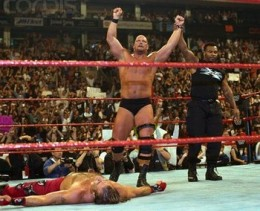 Shawn Michaels lays defeated by Steve Austin in HBK's last WWE appearance until 2003.