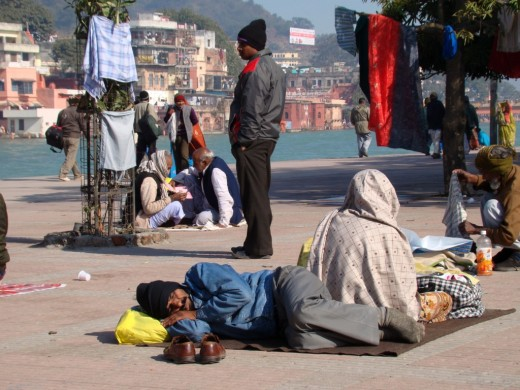 Taking rest; at kumbha fair