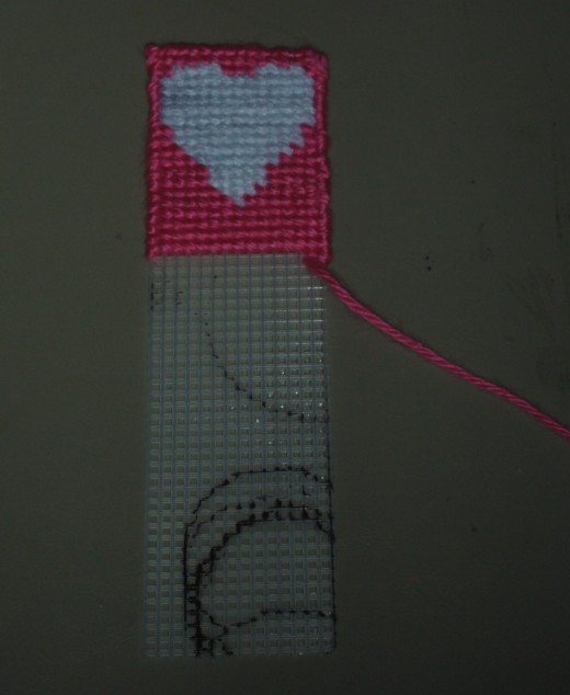 During this step in the process I have completely stitched around the bookmark, and I must admit it is coming along very nicely!
