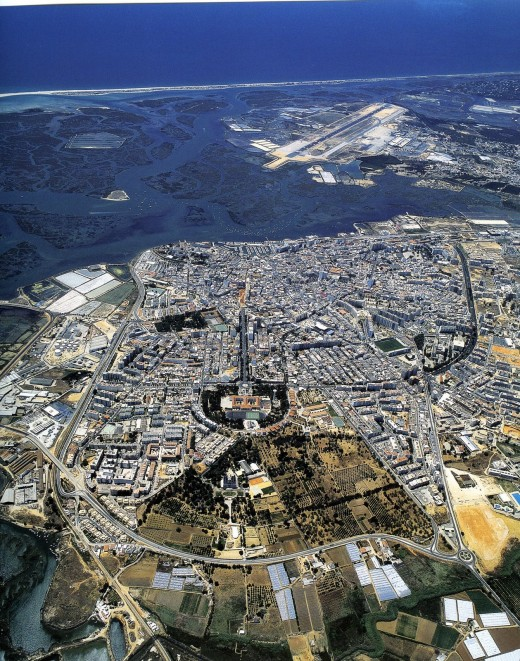 View of Faro City, Airport and Ria Formosa