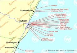 Map of Durban's surfspots / wannasurf.com
