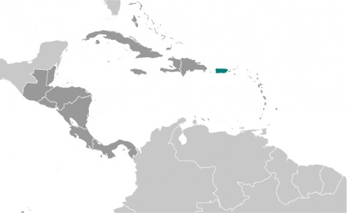 Puerto Rico is in green and is a US Potectorate. Dominican Republic is in between Haiti and Puerto Rico, so US might need to take over that country as well as Haiti if they were to take over Haiti. I think it's all a stretch.