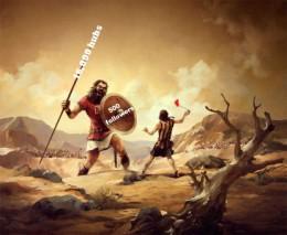 David fights Goliath