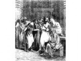Judas Iscariot bargaining with the chief priests