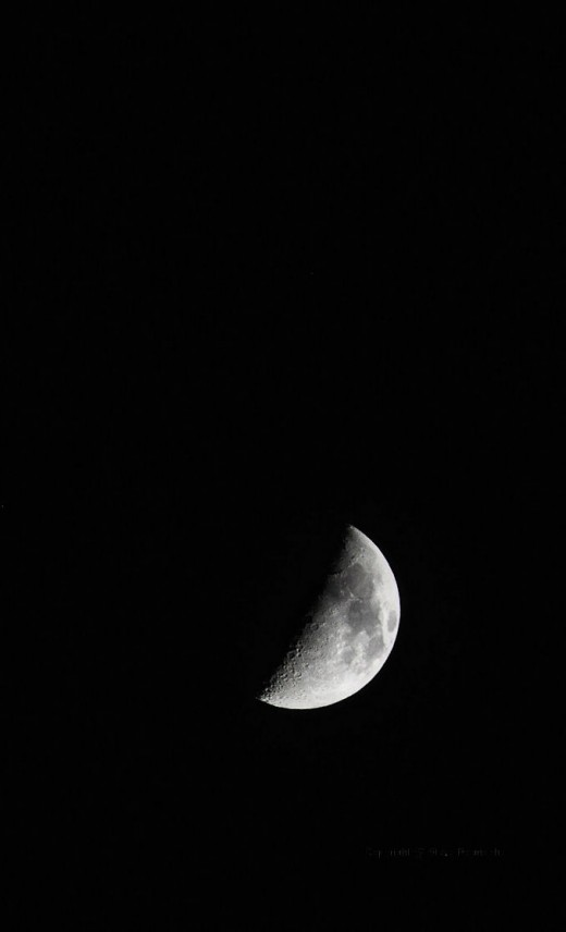 The half moon was bright in the cold sky. It was also a sign I worked too long to enjoy the beautiful day.