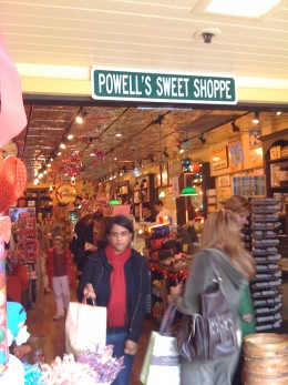 A candy shop that was very busy.