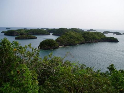 Hundred Islands off the coast of the Province of Pangasinan, Luzon, Lingayen Gulf, The islands number from 123 to 124, depending on the tide. Only three are inhabited for tourism purposes.