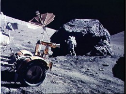 NASA-Apollo 17 mission collecting lunar rocks.