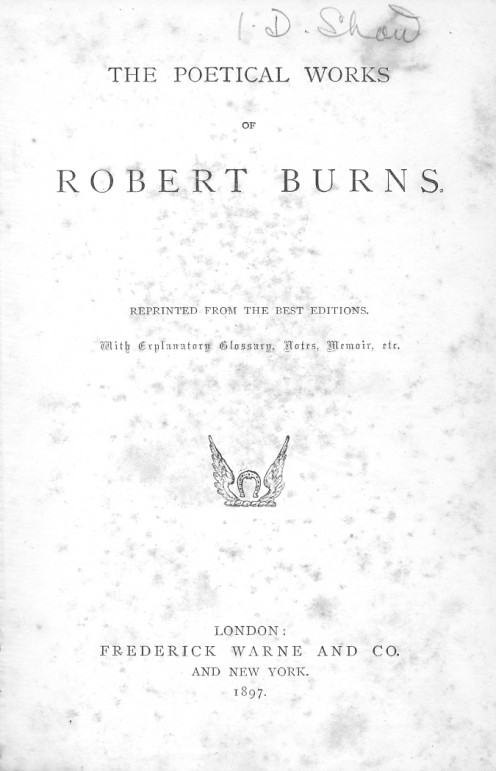 The title page of my rather battered copy of Burns's poetry