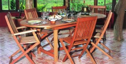 Eucalyptus hardwood outdoor dining furniture.