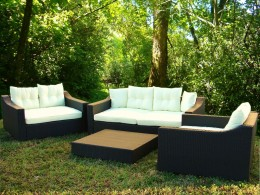 Four piece set includes sofa and love seats with table/ottoman.  Aluminum framing and resin wicker are durable outdoor no matter where you live.