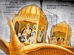 An illustration of Indian Gods in a flying Vimana