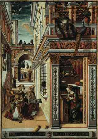 """The above painting is by Carlo Crivelli (1430-1495) and is called """"The Annunciation"""" (1486) and hangs in the National Gallery, London. A disk shaped object is shining a pencil beam of light down onto the crown of Mary's head. A Blow up of the object"""