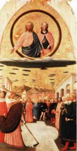 "The above picture depicts Jesus and Mary on what appear to be lenticular clouds. The painting is entitled ""The Miracle of the Snow"" and was painted by Masolino Da Panicale (1383-1440) and hangs at the church of Santa Maria Maggiore, Florence, Italy."