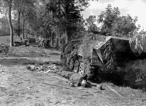 12/8/1944 Mortain. German half-track.