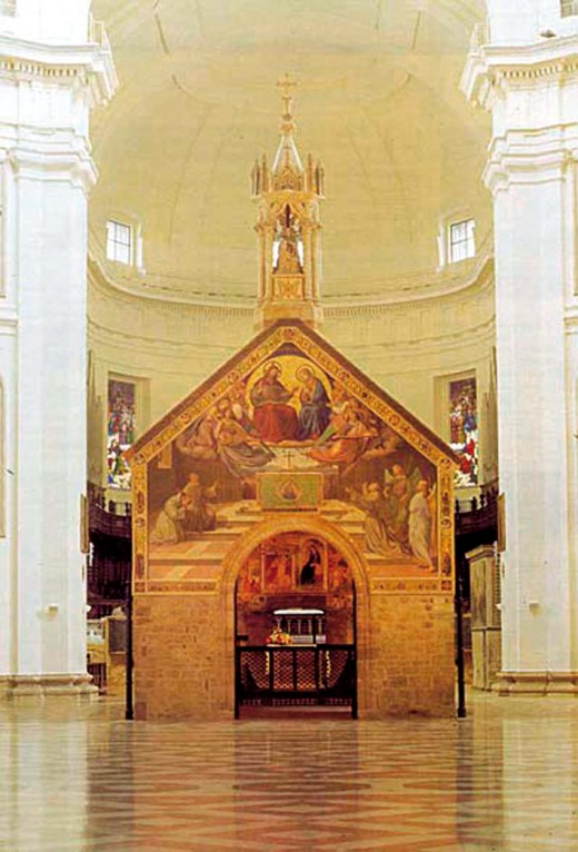 THE CHURCH THAT FRANCIS OF ASSISI BUILT BY HAND AT PORTIUNCULA (NOW INSIDE BASILICA OF ST. MARY OF THE ANGELS)