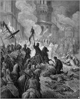 """SACK OF CONSTANTINOPLE IN THE FOURTH CRUSADE"" ENGRAVING BY GUSTAVE DORE"