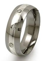 Titanium ring with a simple platinum band down the middle.