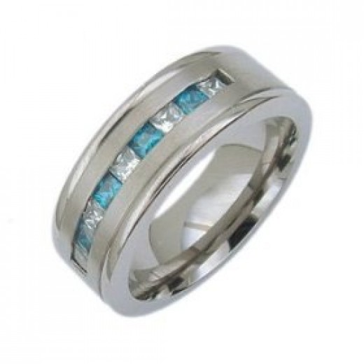 Titanium ring scattered with precious gems.