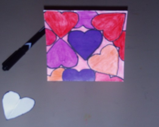 I used this heart template to create a montage image of hearts, which makes for a fun and bold Valentine's Day card.