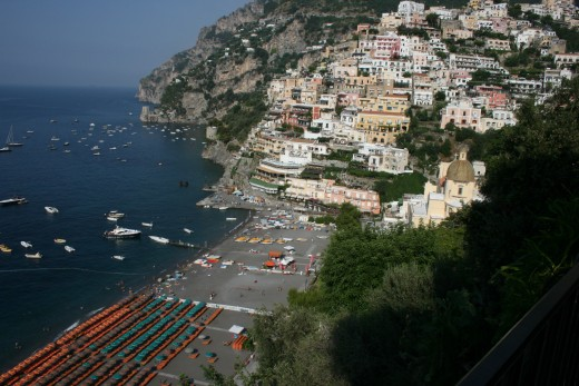 View of Positano from the road above