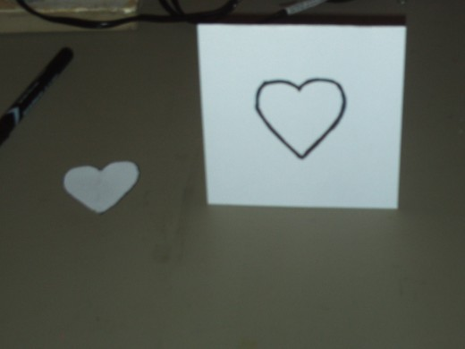 In this picture I have traced the first heart on the card.