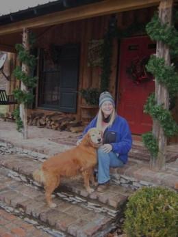Winter at Ann's cabin, I still have long hair!