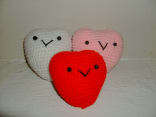 I think purple and blue would also be cute for these hearts.