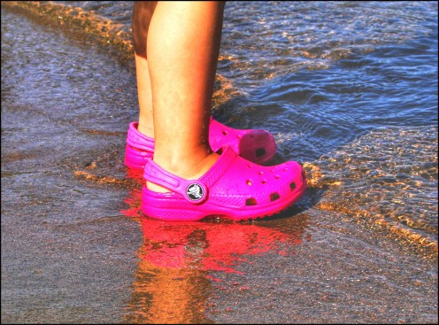 Little Girl's Beach Crocs Have Fun!