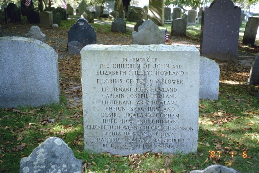 John Howland and family tombstones He came to America on the Mayflower.