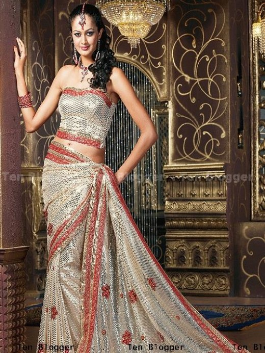 Beautiful Fully Sequenced Wedding Saree Of Georgette Material With Heavy Border