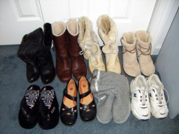 Shoes I can grab at a moment's notice.  I'll spare you what's behind that closet door!