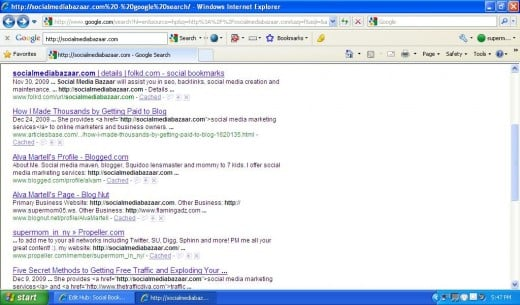 This is an example of how my website shows up higher on social bookmarking sites, than on other sites.