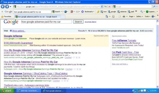 Here's an example of how the bookmark of my HubPage on Xomba  ranks higher on Google than the actual Hub!