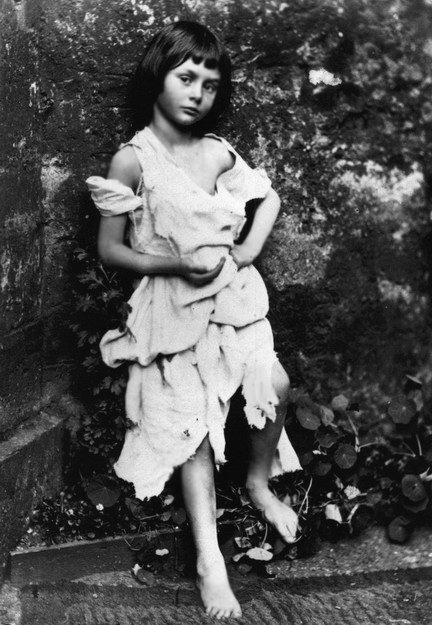 Alice Liddell dressed as a beggar girl. Photo taken by Lewis Carroll, AKA Charles L. Dodgson