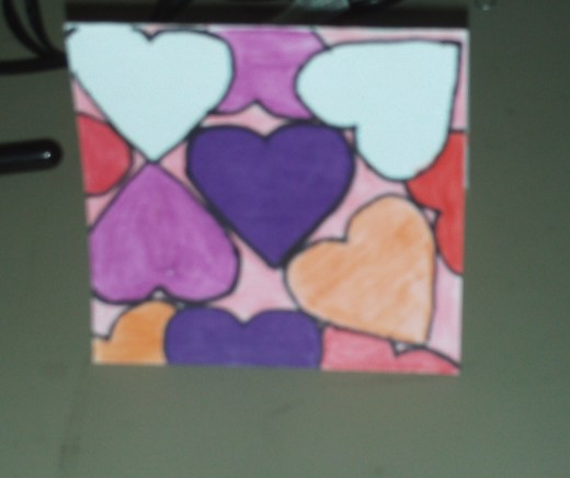 One of the hearts I have colored light purple.
