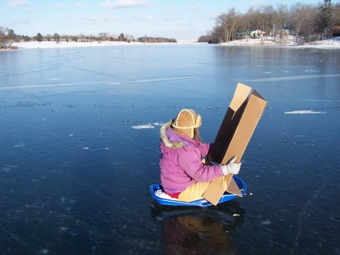 Wind Sledding using cardboard