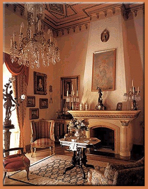 Photo of elegant living room with fireplace and crystal chandelier - your elegant brand
